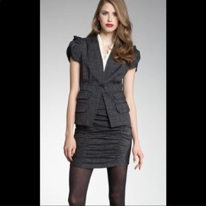 Nanette Lepore Ruched Tweed Bodycon Pencil Skirt